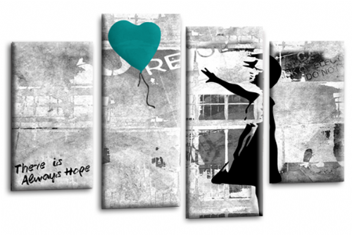 Banksy Art Teal Balloon Girl Canvas Wall Picture Love Hope Print
